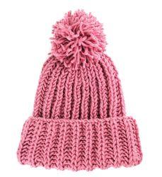 Розовая шапка с вязаным помпоном (шерсть)