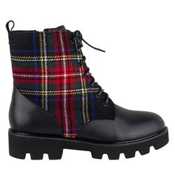 Комбинированные ботинки красно-черная клетка (W)