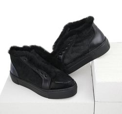 Combined black fur-lined slip-on shoes (W)