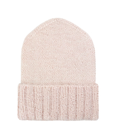Hat woolen Lapti pink with a dusting