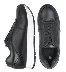 Кожаные черные кроссовки с лаковой вставкой (W)
