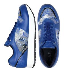 Кожаные синие кроссовки с вставками из лака и ткани альпнина (W)