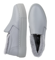 Gray leather fur-lined slip-on shoes (W)