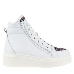 Кожаные белые ботинки на утеплителе с текстилем клетка (W)
