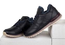 Women's sneakers made of genuine leather Lapti black with violet fur