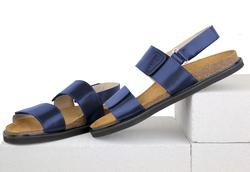 Кожаные темно-синие сандалии две лямки (M)
