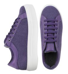 Кеди жіночі з повсті Lapti фіолетові на високій підошві