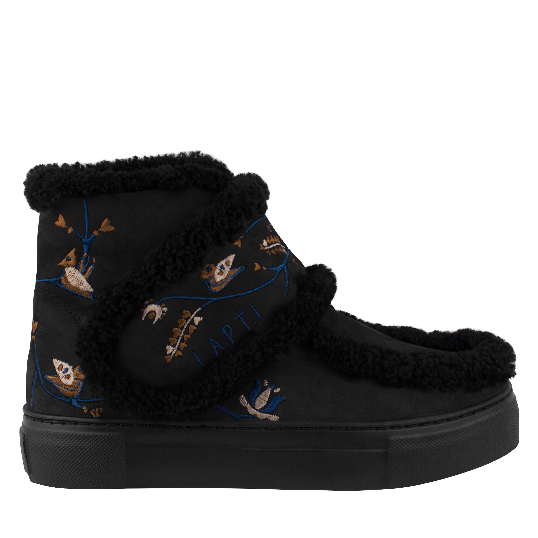 Ботинки женские из натурального нубука Lapti черные на шерсти с широкой лямкой и вышивкой