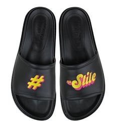 Leather black flip-flops #naStile MOZGI LAPTI