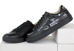 """Кожаные черные кеды MOZGI LAPTI с вышивкой """"Танцуй тетя"""""""
