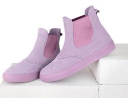 Ботинки челси женские из велюра Lapti сиреневые с перфорацией