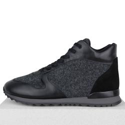 Высокие комбинированные кроссовки кожа войлок черные 9521 (M)
