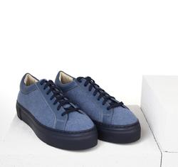 Кеды синие из войлока на шнурках (W)