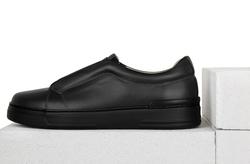 Кожаные черные слипоны с резинкой через подъем_9116 (M)