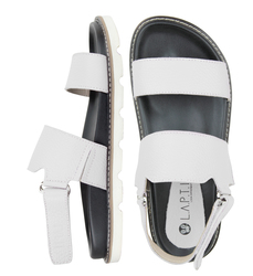Women's sandals made of genuine leather Lapti white with a strap on the heel