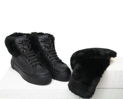 Ботинки женские из натуральной кожи Lapti черные с накладным мехом