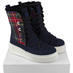 Women's high boots made of natural nubuck Lapti blue with print cage on fur