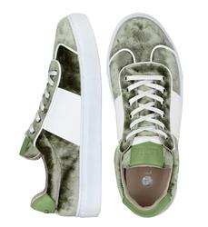 Бархатные зеленые кеды комби кожа, лак 9414(W)