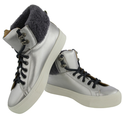 Silvery high-top ankle boots w/o insulation (W)