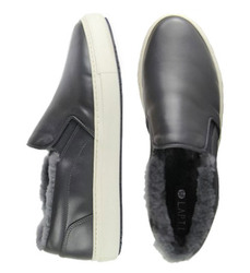 Man's slip-ons made of genuine leather Lapti gray on fur