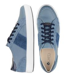 Кожаные серо-синие кеды с вставками из велюра (M)