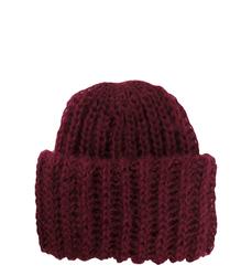 Вязаная бордовая шапка из мохера