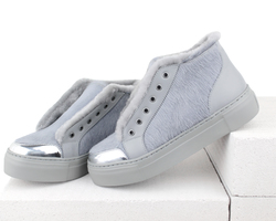 Combined light gray fur-lined slip-on shoes (W)
