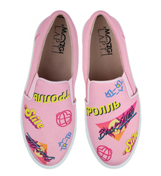 Women's slip-on made of textile MOZGI х LAPTI pink with print