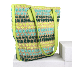 Сумка-шоппер Lapti зеленая с цветочным декором