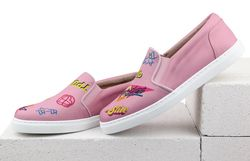 Pink textile slip-on shoes with print MOZGI LAPTI
