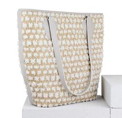 Сумка-шопер Lapti біла з квітковим декором