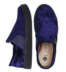 Blue velvet slip-on shoes (K)