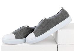 Мужские джинсовые серые слипоны без шнурков (M)