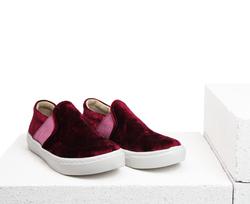 Burgundy velvet slip-on shoes (K)