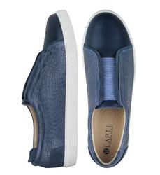 Кожаные сине-серые слипоны кроко с резинкой на подъеме (M)