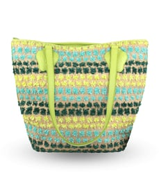 Shopping bag Lapti white with floral decoration