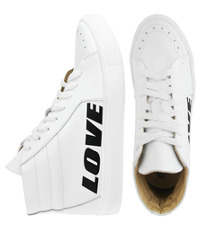 "Women's high sneakers made of genuine leather LAPTIxPOUSTOVIT white print ""LOVE"""