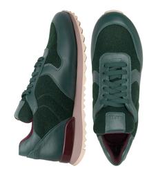 Кросівки жіночі з натуральної шкіри і повсті Lapti темно-зелені
