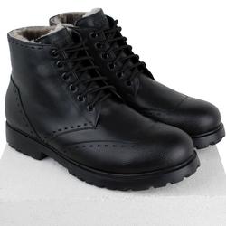 Черные ботинки на меху и шнуровке комбинация фактур кожи (M)