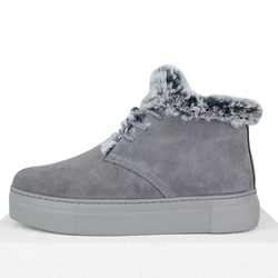 Gray suede slip-on sneakers with wool insulation and laces (W)