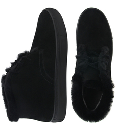 Man's boots made of natural suede Lapti black with a woolen heater