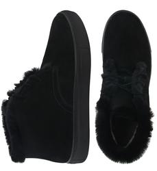 Ботинки мужские из натуральной замши Lapti черные с утеплителем из шерсти