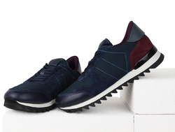 Men's sneakers combined Lapti dark-blue