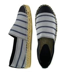 Grey striped cotton espadrilles (M)