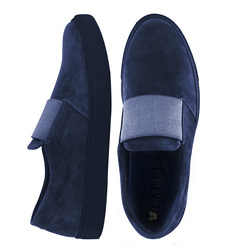 Women's slip-ons suede Lapti blue with a wide elastic band