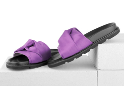 Women's flip-flops made of textile Lapti violet with bow