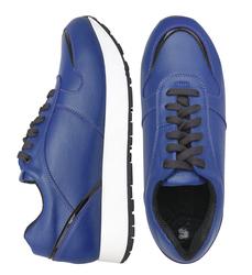 Кожаные синие кроссовки с лаковой вставкой (W)