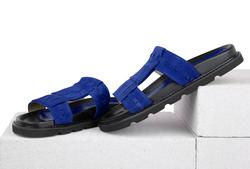 Замшевые синие шлепанцы с бахромой (W)