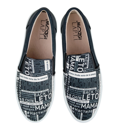 Black and white fabric slip-on shoes back to leto MOZGI LAPTI (W)