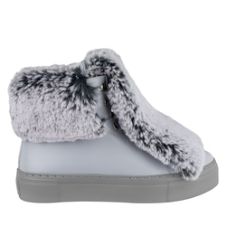 Women's boots made of genuine leather Lapti gray with false fur